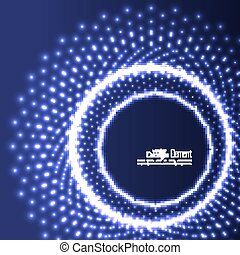 Abstract background with glowing circles and flying...