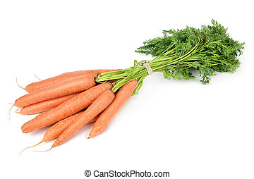 bunch of carrots - a bunch of raw carrots on a white...