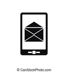 Smartphone with email sign on the screen icon