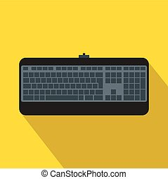 Black computer keyboard icon, flat style