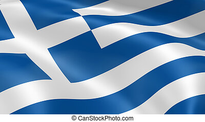 Greece flag in the wind Part of a series
