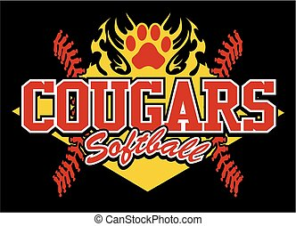 cougars softball team design with flaming paw print for...