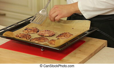 Baking cottage cheese and cherry pancakes - Chef is baking...
