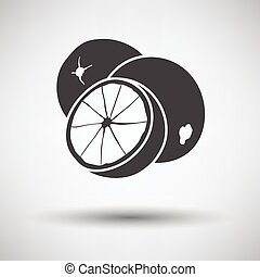 Orange icon on gray background with round shadow. Vector...