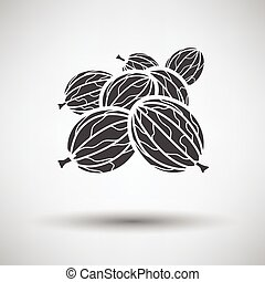 Gooseberry icon on gray background with round shadow Vector...