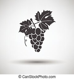 Grape icon on gray background with round shadow Vector...
