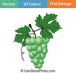 Flat design icon of Grape in ui colors Vector illustration