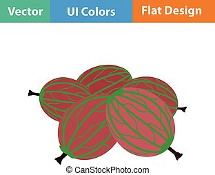 Flat design icon of Gooseberry in ui colors Vector...