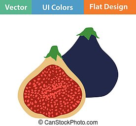 Flat design icon of Fig fruit in ui colors. Vector...