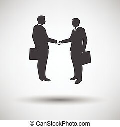 Meeting businessmen icon on gray background with round...