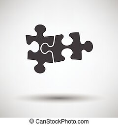 Puzzle decision icon on gray background with round shadow...