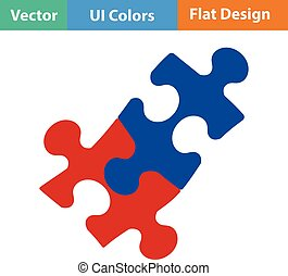 Flat design icon of Puzzle decision in ui colors Vector...