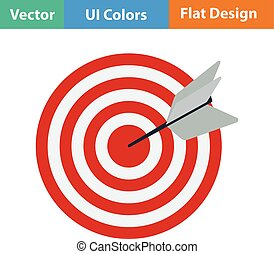 Flat design icon of Target with dart in ui colors. Vector...