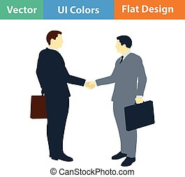 Flat design icon of Meeting businessmen in ui colors Vector...