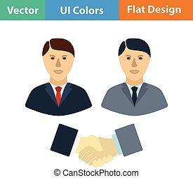 Flat design icon of Meeting businessmen - Hand shake icon...