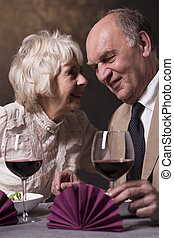 Do you remember our first date? - Shot of an elderly couple...