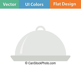Flat design icon of Restaurant cloche - Restaurant cloche...