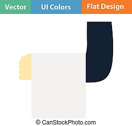 Flat design icon of Waiter hand with towel