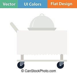 Flat design icon of Restaurant cloche on delivering cart -...