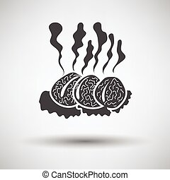 Smoking cutlets - Smoking cutlet icon on gray background...