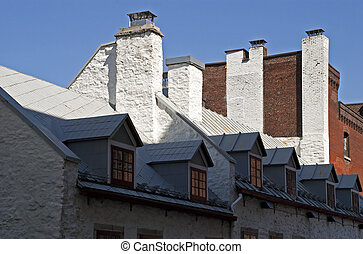 Roof with chimney stacks