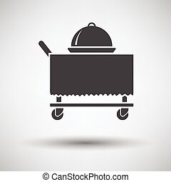 Restaurant cloche on delivering cart icon on gray background...