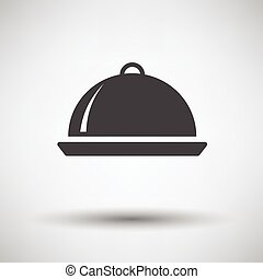 Restaurant cloche icon on gray background with round shadow...