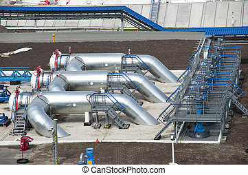 oil pipeline - Latches on a company oil pipeline transneft...