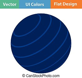 Flat design icon of Fitness rubber ball in ui colors Vector...