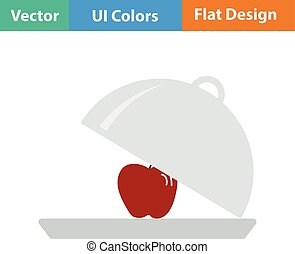 Flat design icon of Apple inside cloche in ui colors Vector...
