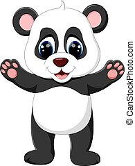 baby panda cartoon - illustration of cute baby panda cartoon