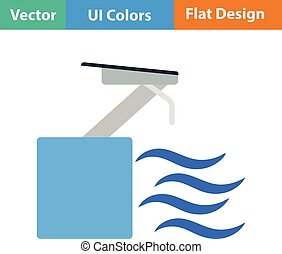 Flat design icon of Diving stand - Diving stand icon Vector...