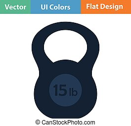 Flat design icon of Kettlebell - Kettlebell icon Vector...