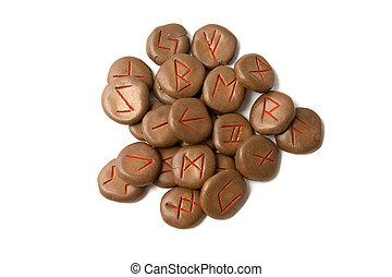 antique germanic runes - a set antique germanic runes, hand...
