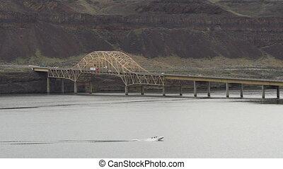 Interstate 90 Vantage Bridge Crossing Columbia River Waters...