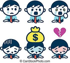 Set of businessmen who grieve - Vector illustration.Original...