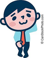 Young businessman embarrassed - Vector illustration.Original...