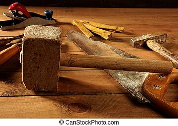 Craftman, carpintero, mano, herramientas, artista
