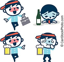 Set of young drunk businessman - Vector illustrationOriginal...