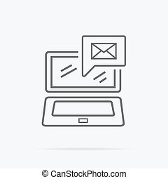 Contact Concept Message and Laptop Icon - Contact concept...