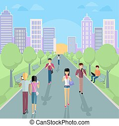 People with Smartphone on Street - People with smartphone on...