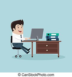 Man Work with Computer - Man sitting on chair at table in...