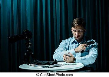 Police wont stop me - Serial killer sitting in dark interior...