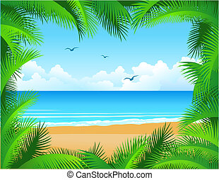 tropical beach - Vector tropical beach framed by coconut...