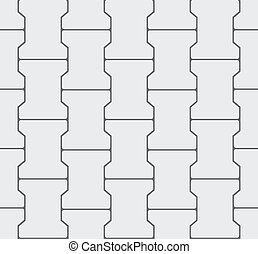 Seamless Interlocking Pavement Background - Grey Vector Pattern