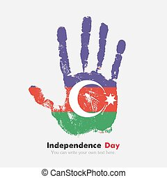 Handprint with the Azerbaijani flag in grunge style