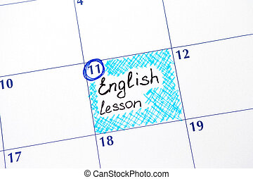 Reminder English lesson in calendar
