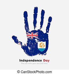 Handprint with the Anguilla flag in grunge style
