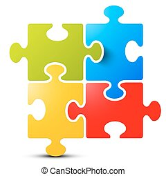 Jigsaw - Puzzle Vector Isolated on White Background