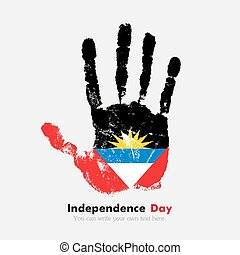 Handprint with the Flag of Antigua and Barbuda in grunge...